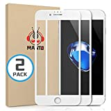 MANTO [2-Pack Screen Protector for iPhone 7 8 6S 6 Full Coverage Tempered Glass Screen Protector Film Edge to Edge Protection Compatible with iPhone 7 iPhone 8 iPhone 6S iPhone 6, 4.7 Inch, White