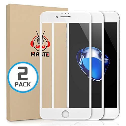 Full Face Protector - MANTO 2-Pack Screen Protector for iPhone 7 8 6S 6 Full Coverage Tempered Glass Screen Protector Film Edge to Edge Protection Compatible with iPhone 7 iPhone 8 iPhone 6S iPhone 6, 4.7 Inch, White
