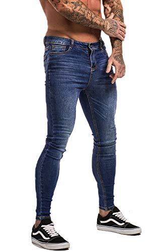 Skinny Tights - Gingtto Men's Ripped Repaired Skinny Stretch Jeans 34 Dark Blue Denim