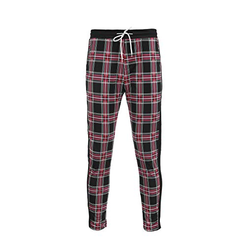 (Men's Classic Plaid Pants Stretch Slim Fit Lattice Trousers Casual Running Jogger Drawstring Sweatpants (X-Large,)
