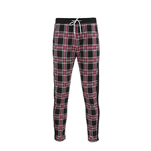 (Men's Classic Plaid Pants Stretch Slim Fit Lattice Trousers Casual Running Jogger Drawstring Sweatpants (X-Large, Black-Green) )