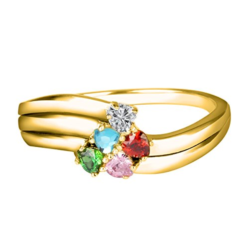 Quiges Gold Plated Silver Mother CZ Birthstone Personalized Engraved 5 Name Love Heart Band Custom Ring 7.25 by Quiges