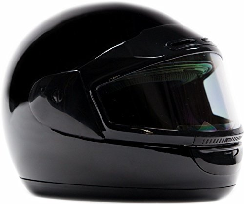- Typhoon Helmets Adult Snowmobile Helmet Mens Womens Full Face Dual Lens Anti Fog - Gloss Black, Medium