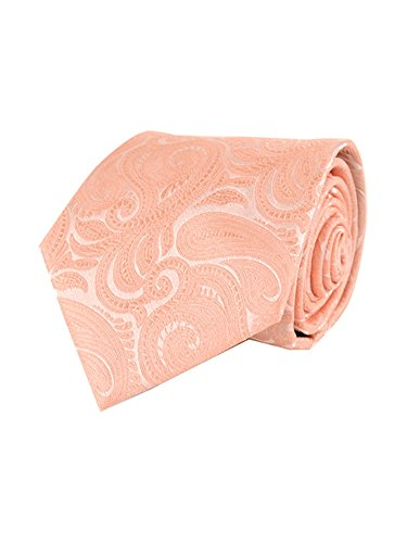 Men's Peach Paisley 100% Microfiber Poly Woven Wedding Neck Tie