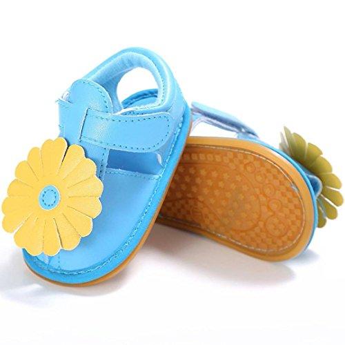 Sandalias Bebe,Tefamore Sandalias Zapatos De Flors Bebé Niño Recién Nacido Suave Suela Antideslizante Zapatillas Primavera y Verano Azul