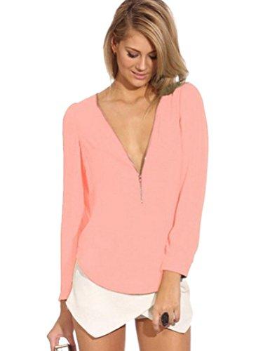 Maglia Elegante Chiffon Donna Tank Lunga Pink Casual Blusa Tops Camicia Camicetta qS7nxOgw