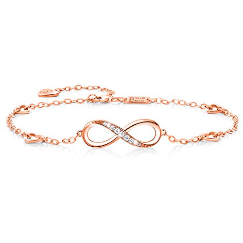 Billie Bijoux Womens 925 Sterling Silver Infinity Endless Love Symbol Charm Adjustable Anklet Bracelet, Large Bracelet, Gift for Mother's Day (B- Rose Gold)