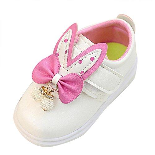 Tefamore Zapatos Zapatillas Bebe de Deporte del Otoño de la Primavera de los Niños Orejas de Conejo Corbata de Moño Blanco