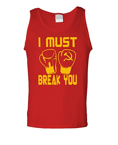 I Must Break You Drago Boxing Movie 80's - Mens Tank Top, XL, Red -