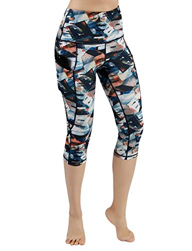 ODODOS High Waist Out Pocket Printed Yoga Capris Pants Tummy Control Workout Running 4 Way Stretch Yoga Leggings,FineArt,X-Large