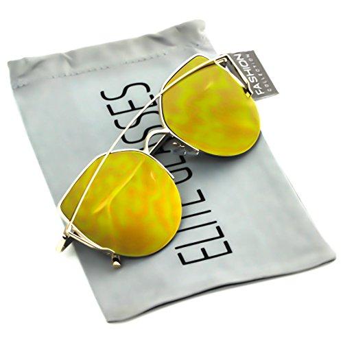 Elite Cat Eye Metal Frame Flat Top Mirrored Lens Aviator Women Fashion Sunglasses (Gold, - Cat Eye Aviators