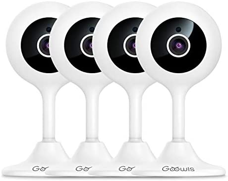 Security Camera Indoor, Goowls 4-Pack 1080P HD 2.4GHz WiFi Indoor IP Plug-in Camera Home Security System for Baby/Pet/Nanny with Night Vision Motion Detection Two-Way Audio Compatible with Alexa