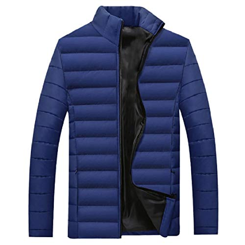 Energy Mens Thicken Plus Size Stand Collar Cotton Solid Puffer Jacket Blue