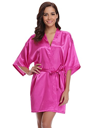 Women's Kimono Robes Satin Pure Colour Short Style with Oblique V-Neck Robe Rose Red (Robe Knockout)