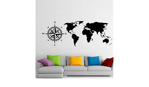Gran Tamaño Brújula Náutica Scratch World Map Etiqueta de La Pared ...