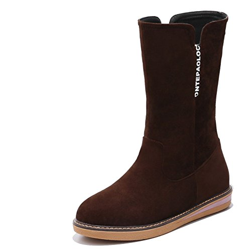 Decostain Comfort Winter Snow Warm Soft Mid Calf Faux Suede Boots Brown UroeODK3