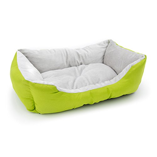 ALEKO PB06GR Plush Pet Cushion Crate Bed for Dogs Cats Medium Machine Washable Indoor Outdoor 20 x 16 x 6 Inches Green and White