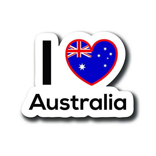 Love Australia Flag Decal Sticker Home Pride Travel Car Truck Van Bumper Window Laptop Cup Wall - One 5 Inch Decal - MKS0145