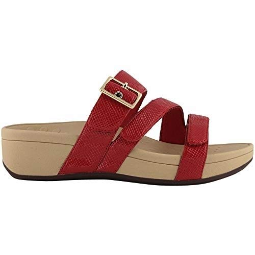 Vionic Women's Pacific Rio Platform Sandal - Ladies Adjustable Slide Sandal with Concealed Orthotic Arch Support Red Lizard 6 W US