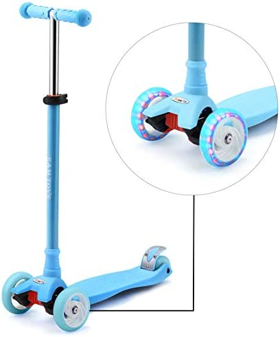 SAMTOYS Scooter for Kids – 3 Wheels Adjustable Kick Scooter with LED Light Up Jelly Wheels,for Girls Boys 3 to 8 Years Old 5 to 12 Years Old Best Gift for Birthday or Christmas for Girls and Boys