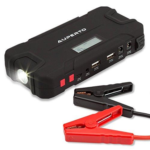 Auto Starthilfe Jump Starter, AUPERTO 600A Spitzenstrom 15000mAh Tragbare Autobatterie Anlasser Externer Akku Ladegerät mit Eingebaute LED Taschenlampe für Smartphone Tablet (schwarz)
