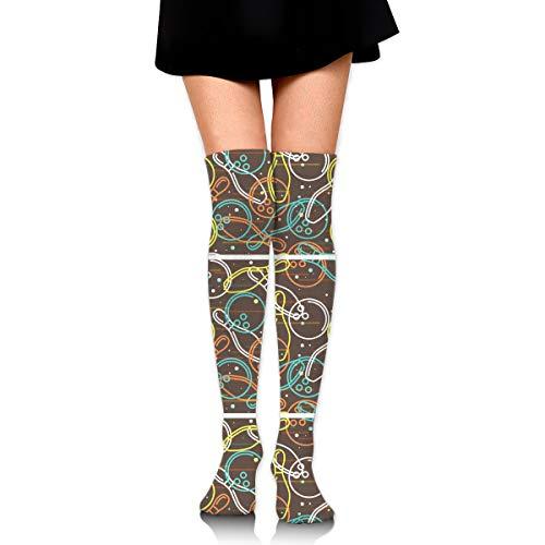 WRE8577 Bowling Skittles and Balls Outline Pattern Socks Sport Long Sock Knee High Compression Socks for Nurses -