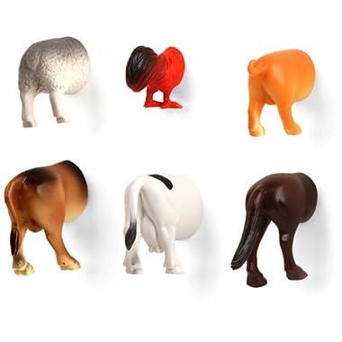 Kikkerland Farm Animal Butt Magnets, Set of 6 (MG26)