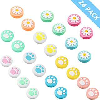 24 Pieces Replacement Cute Cat Paw and Flower Design Thumb Grip Caps Thumb Grips Analog Stick Cover Joystick Cap Soft Silicone Cover Compatible with Nintendo Switch, Switch Lite and Joy-Con Controller