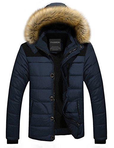 Down Addensato Puffer Pelliccia Pile Incappucciato Foderato Jacket Menschwear Uomo Blu Piumino Di Collare Giacca S 3xl qTEw7pBC