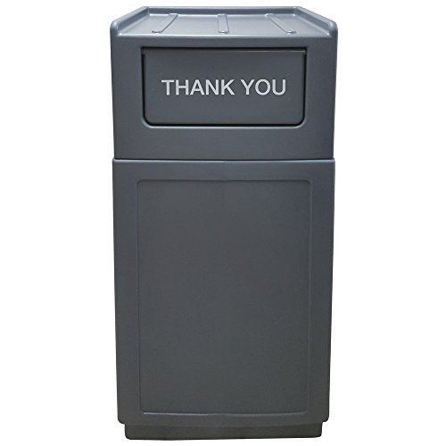 - Hubert Trash Receptacle Garbage Can with Tray Top Lid 39 Gallon Grey - 21 1/2 L x 14 1/2 W x 49
