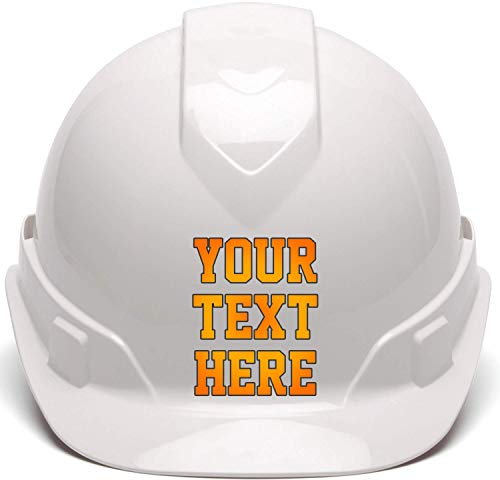 Custom Hard Hats - Personalized Text - Pyramex Ridgeline Vented Cap Style 4 Point Ratchet Suspension