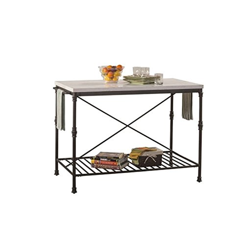 BOWERY HILL Metal Kitchen Island in White Marble and Black (Marble Top Kitchen Island)