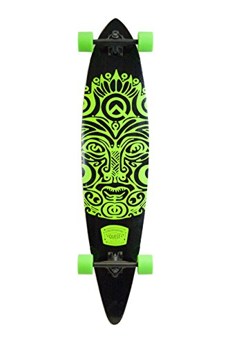Quest Buena Karma Pintail Longboard Skateboard, Bright Jade Green, 44″