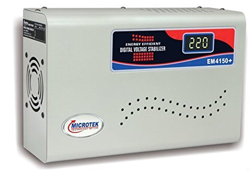 Snowbird Microtek Em4150 Digital Voltage Stabilizer  150 280V   Upto 1.5Ton Ac , Grey