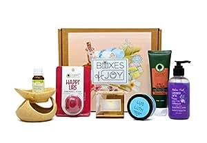 Boxes of Joy Waffle Towel, Shower Gel, Face Wash, Moisturiser, Soap, Face Pack, Scrub Soap Bath and Body Box Kit for Women