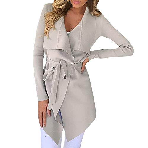 Women's Open Front Cardigan Long Sleeve Waterfall Collar Trench Coat Outwear Jacket (XL, Beige) -