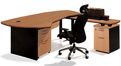 Ofiselite Office Suite Contemporary Executive Desk Plus Right Side Filing Pedestal Plus Mobile Filing Cart For Key Executives  Model 3350  Beech Black