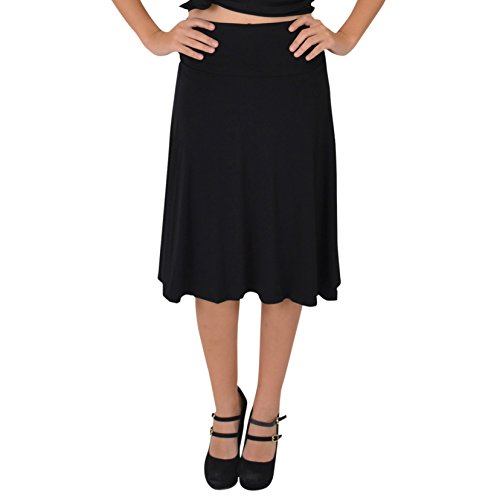 Stretch is Comfort Women's Knee Length Flowy Skirt Black Large ()