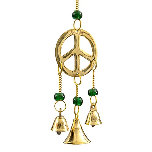 Brass Peace Sign - Alternative Imagination Peace Sign Brass Wind Chimes with Bells