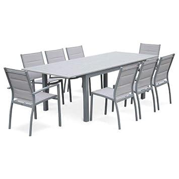 Salon De Jardin Chicago Gris Clair Table Extensible 175 245cm Avec Rallonge Et 8 Assises En Textilene