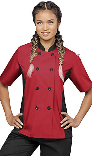 Womens Short Sleeve Chef Coat Mesh Side Panels  (Medium, Red/Black)