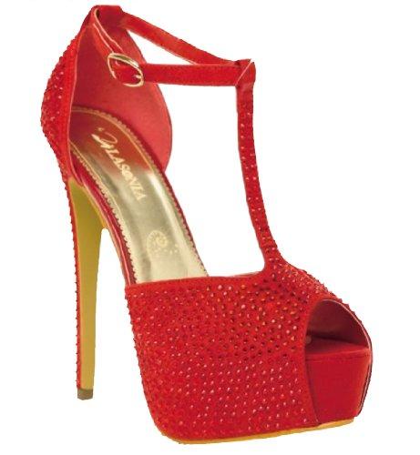 Lasonia T-strap Cheville Fermeture Boucle Peep Toe Pompes À Tige Ouverte Ls4862 Noir Ou Rouge Rouge
