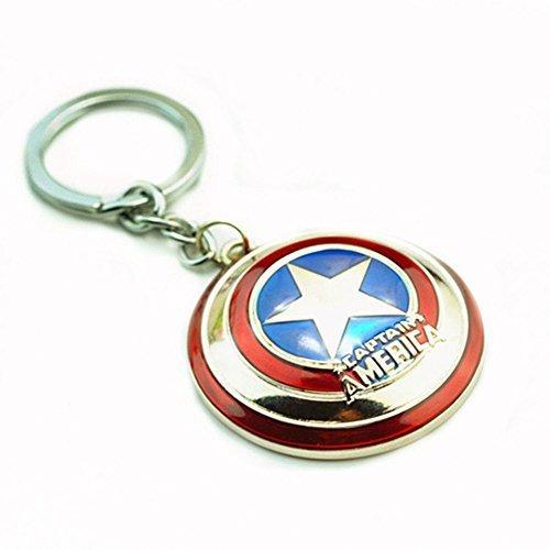 Super Hero the Avengers Captain America Shield Metal Keychain Pendant Key Chains (Silver)