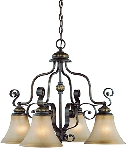 Jeremiah 26524-CB Kingsley 4 Light Down Chandelier with Distressed Mocha Etched Glass, Century Bronze - Tuscan Style Chandeliers