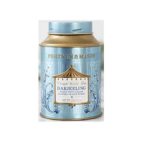 Fortnum & Mason British Tea, Darjeeling FTGFOP - Finest Tippy Golden Flowery Orange Pekoe- 125g Loose Tea in a Gift Tin Caddy (1 Pack) - USA Stock