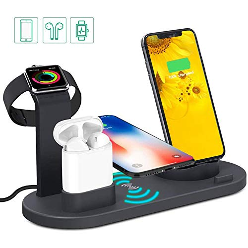 MQOUNY Wireless Charger,4 in 1 Charging Stand Dock for Apple Watch(Original Charger Required) and Airpods,Multiple Charging Station Qi Wireless Charging Compatible with iPhone X Galaxy Note 10 (Black)