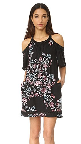 Ella moss Women's Wanderer Floral Cold Shoulder Dress, Black, XS