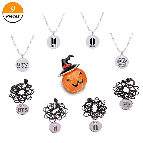 Youyouchard KPOP BTS Bangtan Boys Jewelry|BTS Necklace+BTS Ring+Halloween Pumpkin Brooch|A Happy Gift for -