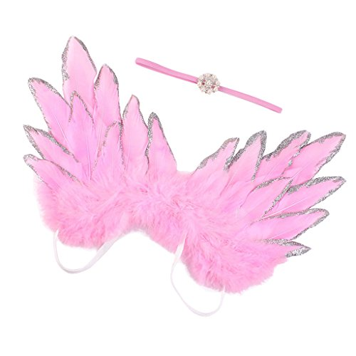 SunniMix Baby Kids Angel Wings Feather for Party Decoration And for Photo Prop - Pink, as described -