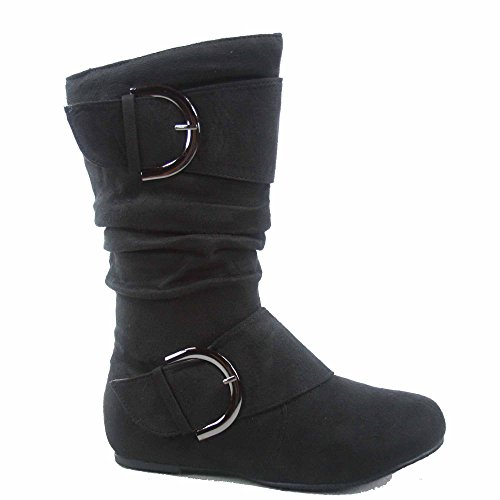 Lucky Top Youth Kid's Girl's Mid-calf Flat Slouch Zipper Boots (4, - Flat Kids Top